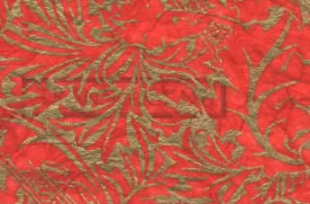 Unryu Silkscreen Tissue Paper Red & Gold