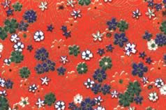 Washi Print Paper Red w Small Flowers & Gold