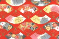 Washi Print Paper Red w Fans & Gold