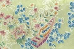 Washi Print Paper Green w Flowers & Boats