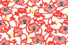 Washi Print Paper Red Flowers w Yellow