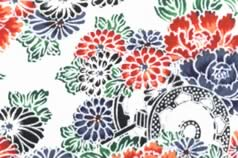 Washi Print Paper White w Flowers & Wheel