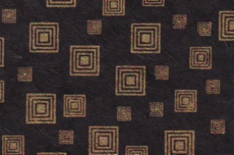 Lokta Squares Paper Gold on Black