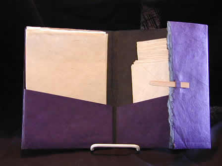 Stationery Portfolio Kit Purple w Natural Lokta Sheets